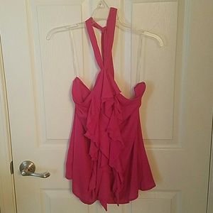 Tops - Pretty in Pink Ruffled Halter