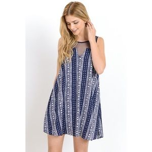 likeNarly Dresses & Skirts - 🆕 Boho Patterned Navy Blue Mini Dress