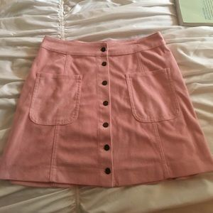 Dresses & Skirts - Pink Suede Button Up Skirt