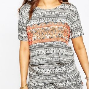 Alice & You Tops - Tribal Stripe T-Shirt Blouse w/ Orange Embroidery