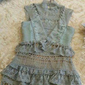 Self Portrait Dresses & Skirts - Tear Drop Guipure Lace Tiered Mini Dress