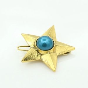 Pair of Antique Gold Blue Pearl Star Hair Clips