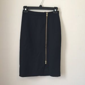 J. Crew Black Wool Zip Pencil Skirt 00
