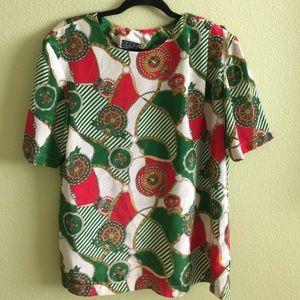Vintage Tops - 100% Silk Designer Style Vintage Shirt