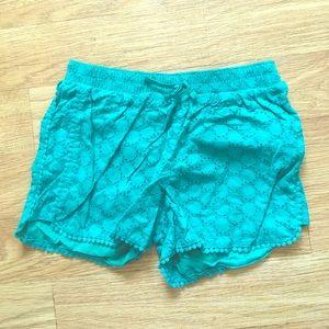Teal Eyelet Lace Shorts