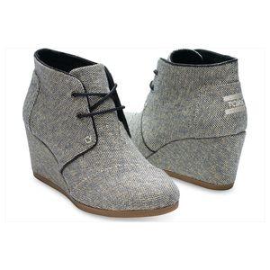 TOMS Shoes - TOMS Metallic Linen Desert Wedge Booties Black