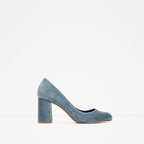 21% off Zara Shoes - Zara Blue Velvet High Heels from Amy's closet ...