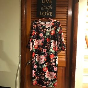 Floral scuba midi sheath  dress with bell sleeves