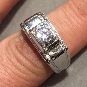 Other - 14k white gold round D/VVS1 men's ring size 10