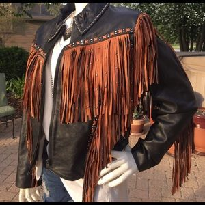 Black leather brown western Moto fringe jacket XL