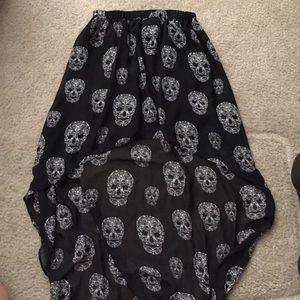 Divided Dresses & Skirts - H&M Black Chiffon Sugar Skull Punk High Low Skirt