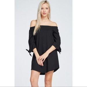 Black Off the Shoulder Tied Wrist Dress