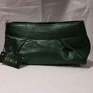 Furla Handbags - FURLA dk. green leather make up case. NWT