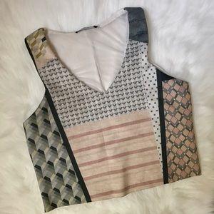 Zara Printed V-Neck Crop Top
