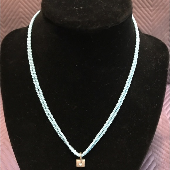 Fashion turquoise colored necklace with silver pendent for Turquoise colored fashion jewelry