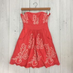 Monsoon Dresses & Skirts - Coral Embroidered Dress