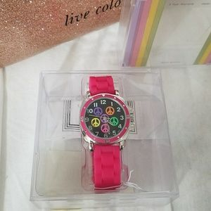 COOLEZIO *nwt* Hot Pink 'Sophie' Peace Watch