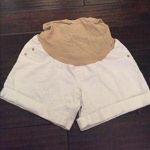 Indigo Blue Pants - Indigo Blue size Med White Jean Maternity Shorts