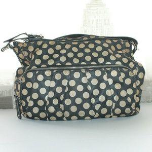 Franco Sarto Handbags - FRANCO SARTON Black and Taupe polka dot satin purs