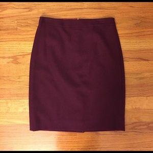 Wool Maroon J.Crew Pencil Skirt