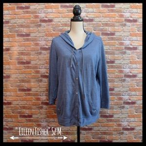 Eileen Fisher Tops - Eileen Fisher 100% Linen Snap Front Hoodie