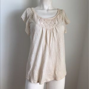 Anthropologie Tops - Anthropologie Beige Ruffled Sleeve Top