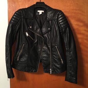 H&M black faux leather motorcycle jacket