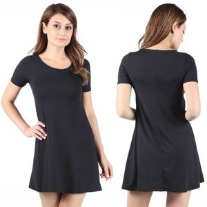 Short Sleeve Jersey Mini Tunic Tee Shirt Dress