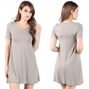 fairlygirly Dresses & Skirts - Short Sleeve Loose Jersey T-Shirt Dress Greige M