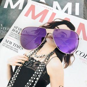 Style Link Miami Accessories - PURPLE MIRROR LENS AVIATOR SUNGLASSES