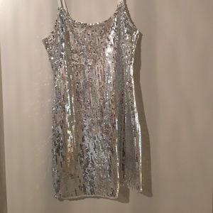 Free People Dresses & Skirts - FREE PEOPLE silver sequin slip dress size S