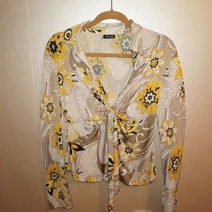 Ariella Tops - Low Neck 70s Print Light Brown & Yellow Blowse