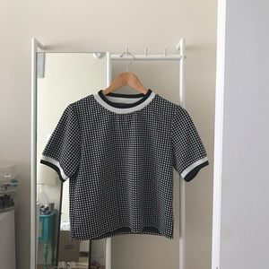 Square Patterned Black and White Shirt