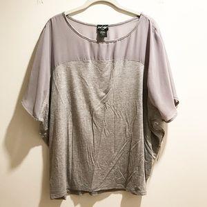 Lord & Taylor Tops - Gray short dolman sleeve shirt w/ sheer mesh top