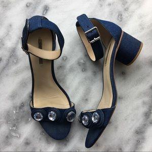 Zara Bejeweled Denim Ankle Strap Sandal
