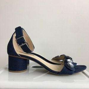 Zara Shoes - Zara Bejeweled Denim Ankle Strap Sandal