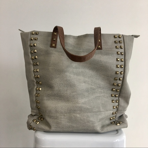 Street Level Handbags - Street Level Faux Leather Studded Tote Bag
