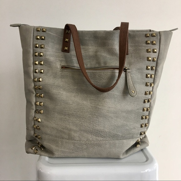 Street Level Bags - Street Level Faux Leather Studded Tote Bag