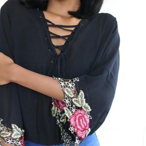 Rebecca Sheer Rose Embroidered Lace Up Blouse