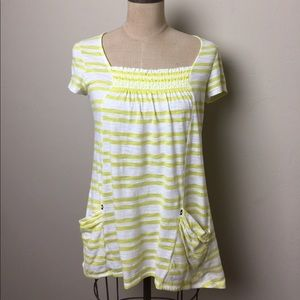Anthropologie striped pocketed long length top