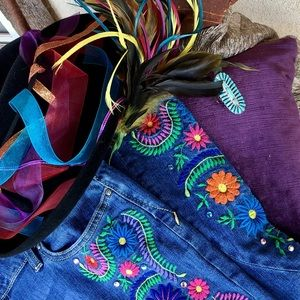 Colorful Embroidered Gypsy Soule Boot Cut Denim