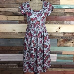 Garnet Hill Petite Six Dusty Rose Floral Gray