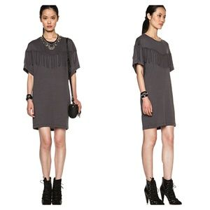 IRO Black Fringe Oversized Tee Shirt Dress