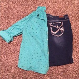 Merona Tops - Mint blue green polka dot button up blouse top 2x