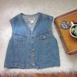 Vintage Jackets & Blazers - Vintage Denim Vest Cactus Denim Md