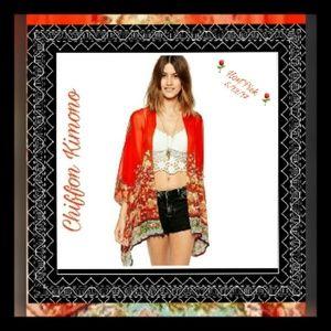 HP⚘Beautiful red with flower print Chiffon Kimono