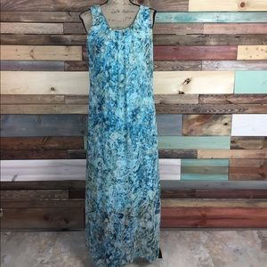 Turquoise Peach Boho Paisley Maxi Dress L