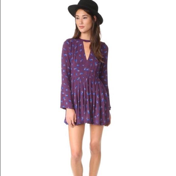 0df64e38ea21 Free people purple floral dress tegan long sleeve
