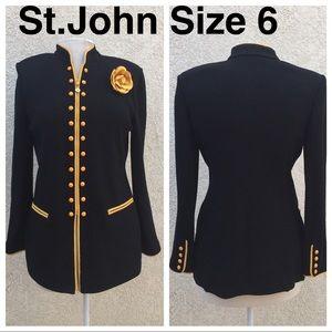 St. John Black and Yellow Blazer Size 6