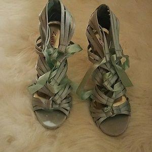 Zigi Soho Shoes - Light Blue Satin Like lace Up heels.